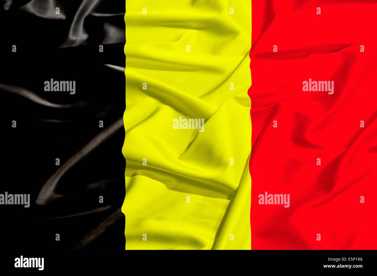 Belgium flag on a silk drape - Stock Image