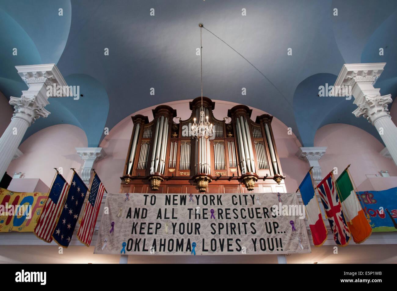 St Paul's chapel, Manhattan, New York City, New York, United States of America, North America. Inside the chapel - Stock Image