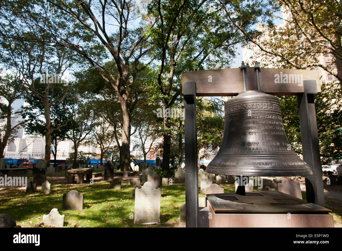 The Bell of Hope at St Paul's Church, World Trade Center, New York, USA. St Paul's chapel, Manhattan, New - Stock Image