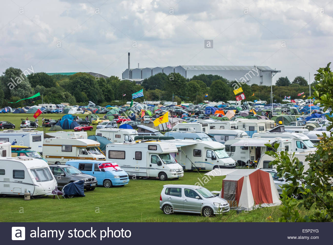 The campsite on Coldhams Common for the Cambridge Folk Festival, 2014, near to the airport. - Stock Image