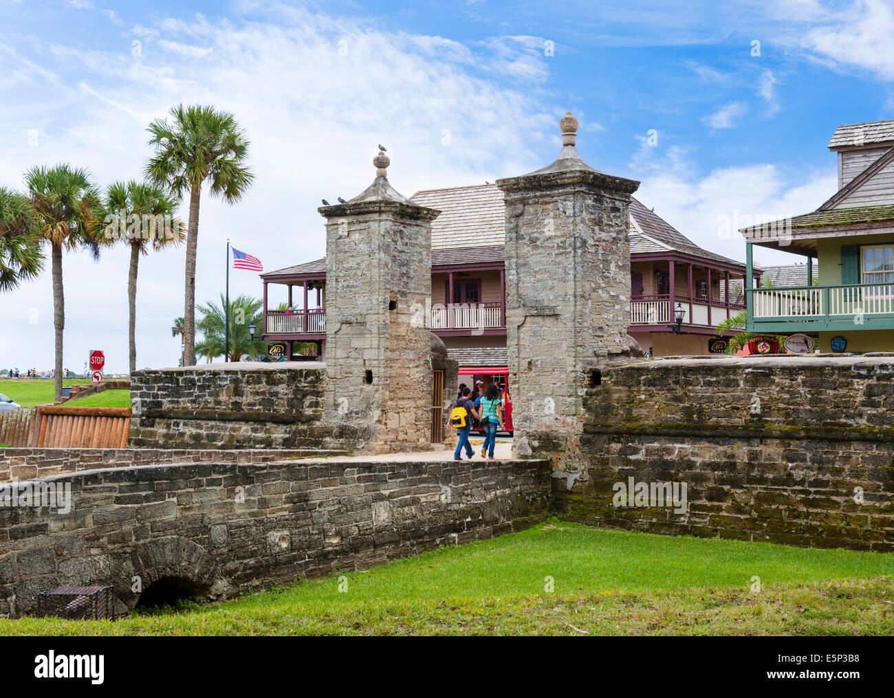 The old City Gate leading to St George Street in downtown St Augustine, Florida, USA Stock Photo