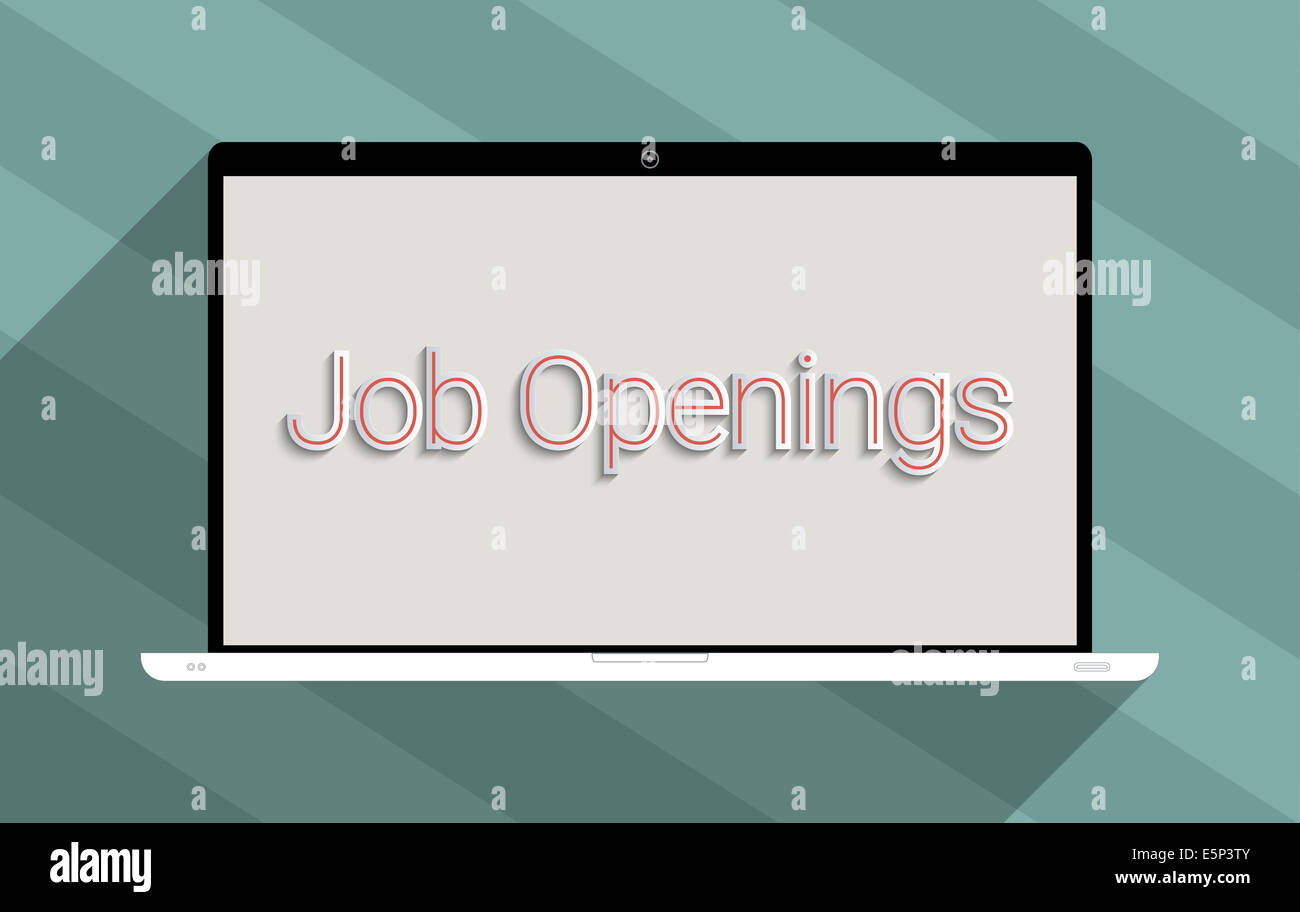 Concept for employment,  job searching and unemployment. Flat design illustration. - Stock Image