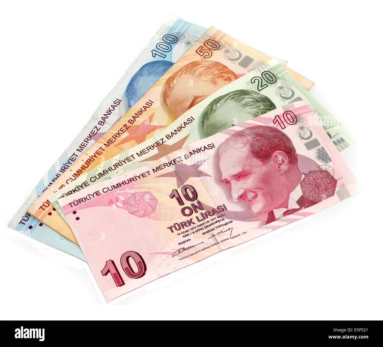 Turkish lira banknotes isolated Stock Photo