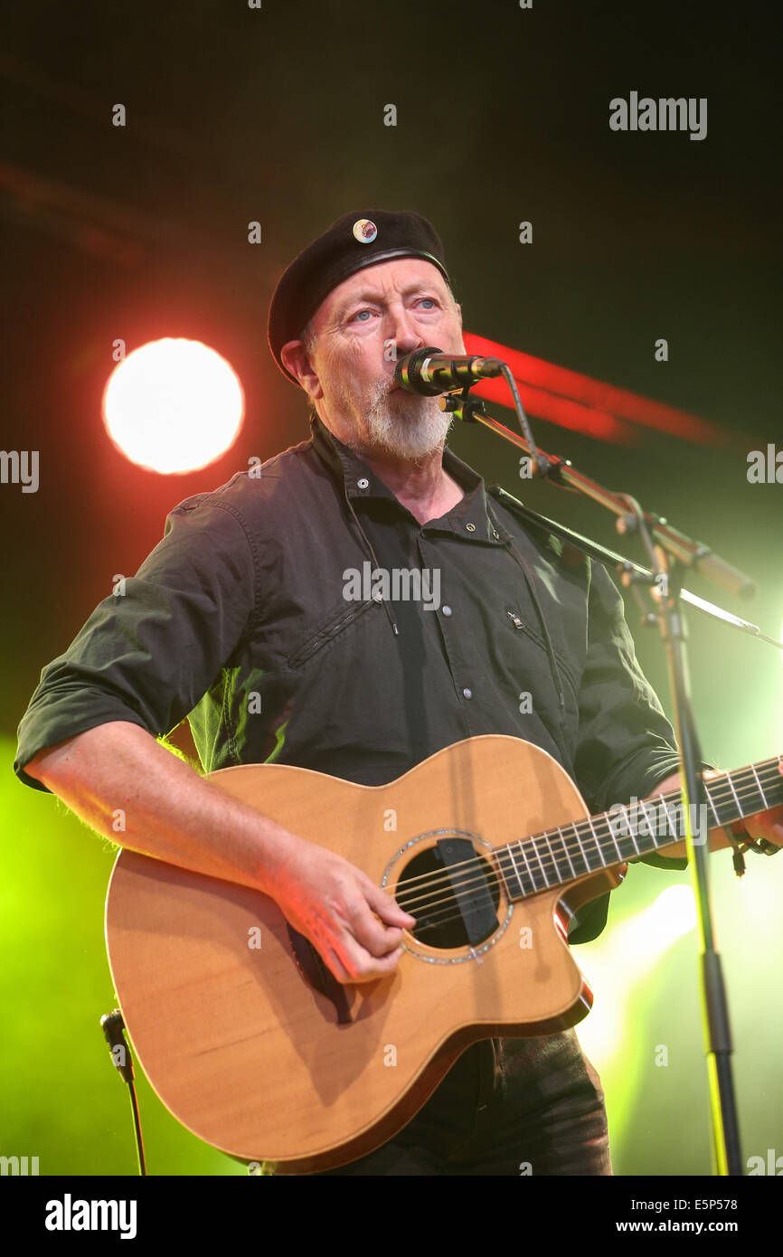 Richard Thompson appearing at Cambridge Folk Festival on August 1st. - Stock Image