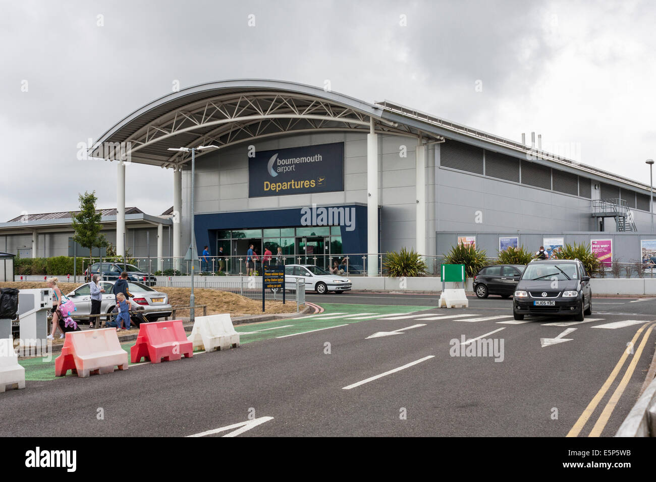 Bournemouth Airport departures terminal, Hampshire, England, GB, UK - Stock Image