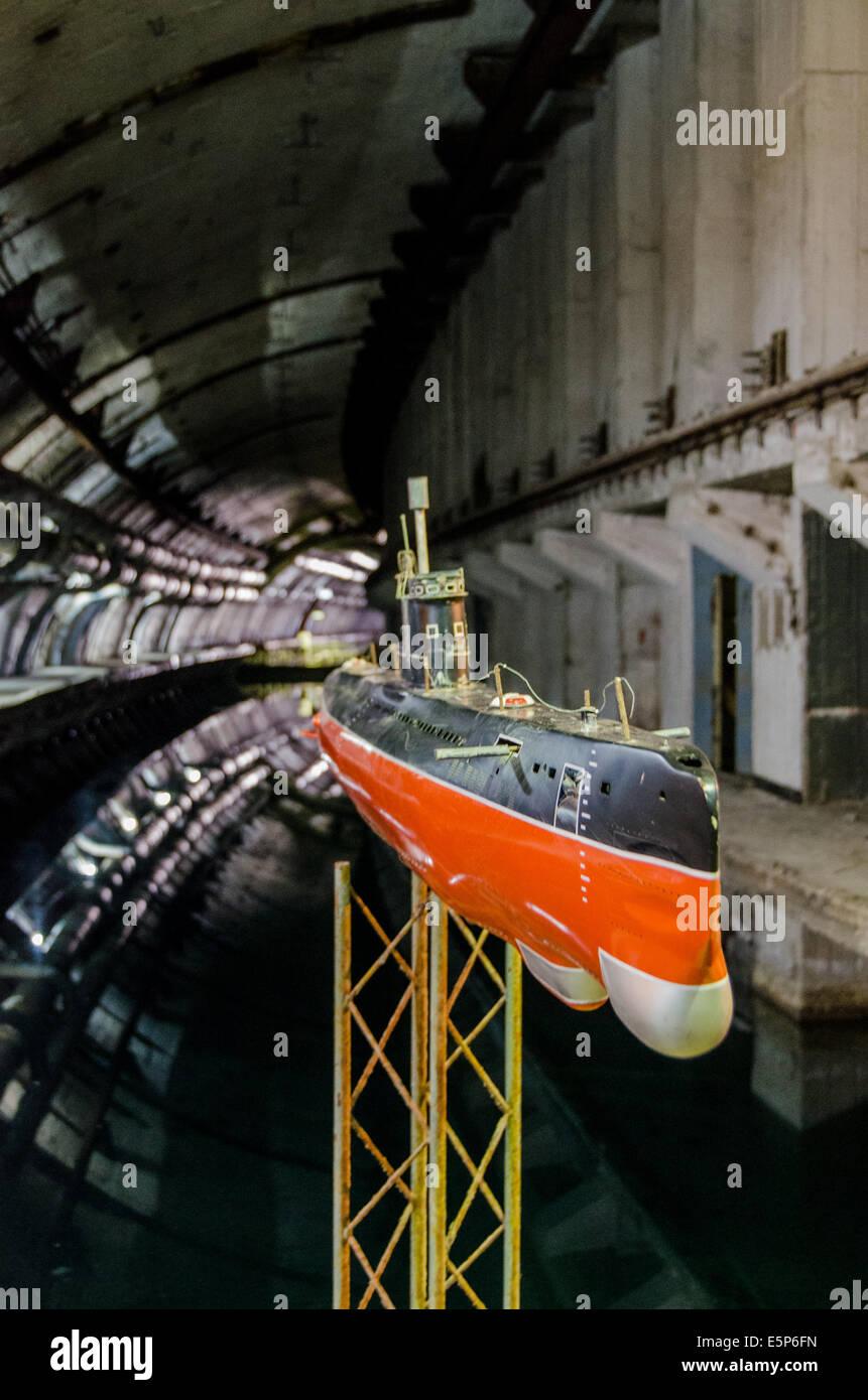 Abandoned secret underground submarine base in Balaklava - Crimea - Stock Image