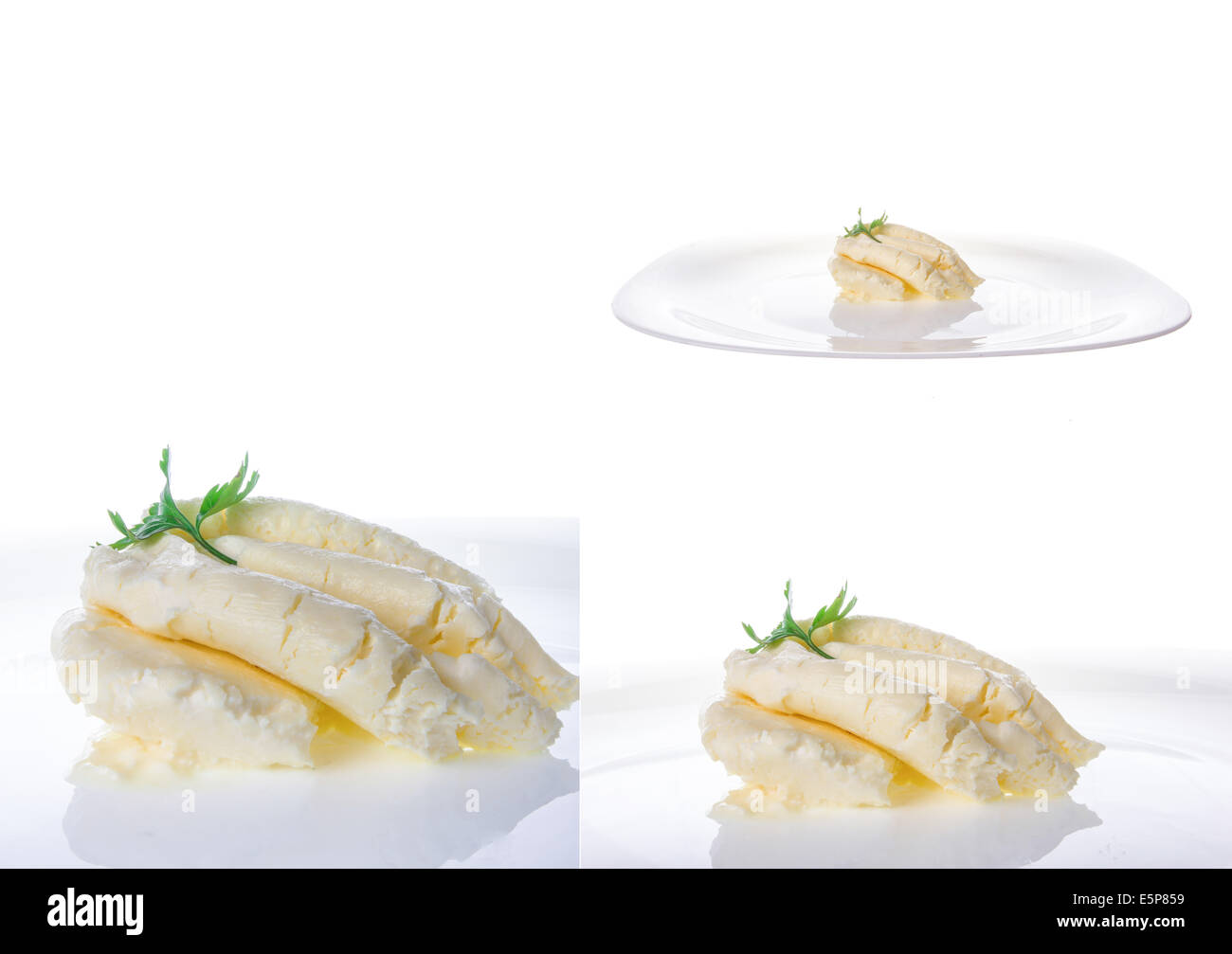 cream cheese on plate in multiple shots on white background; cottage cream cheese; dairy product; soft cheese - Stock Image