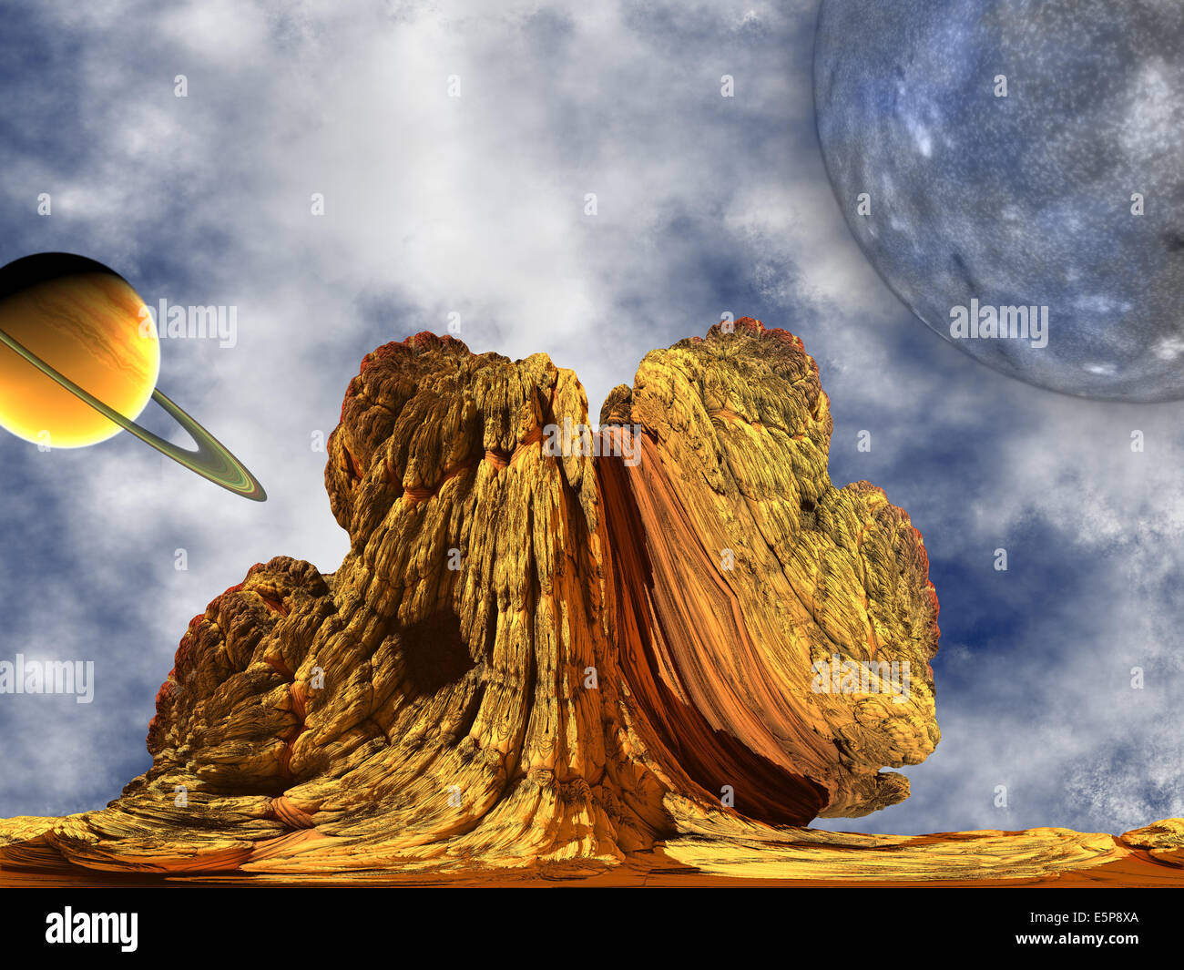Alien Rock with sky background and two planets - Stock Image