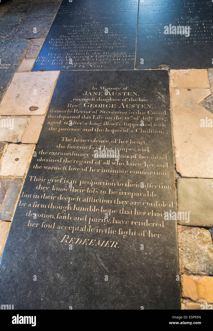 Tombstone of Jane Austen, famous 19th century writer, author of 'Pride and Prejudice', in Winchester Cathedral - Stock Image