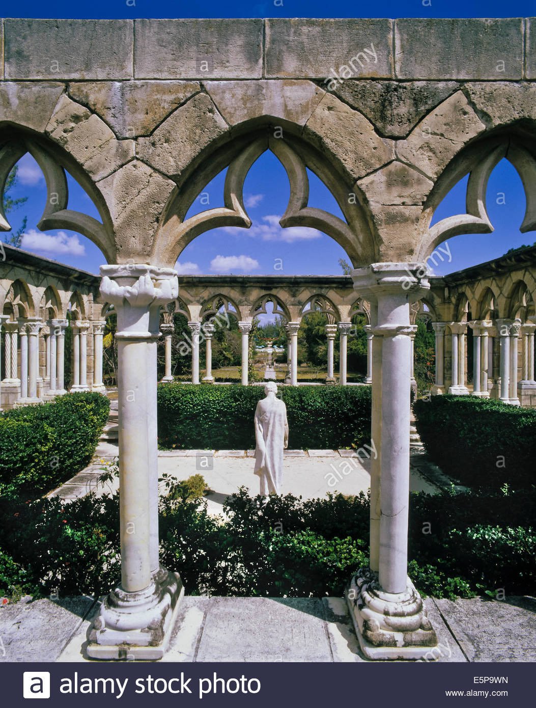 French Cloister and gardens on Paradise Island near Nassau in the Bahamas - Stock Image