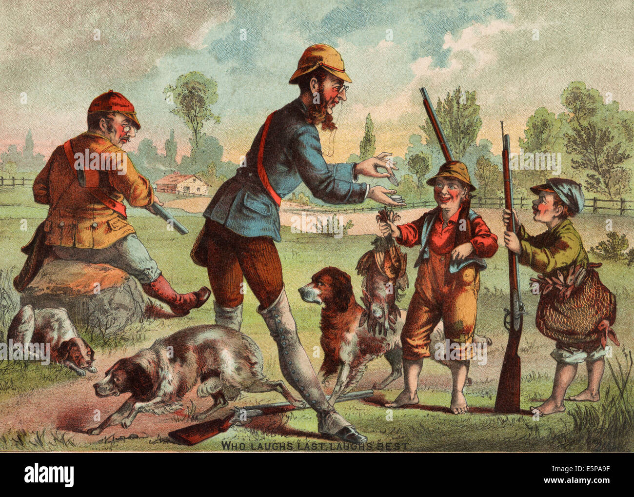 Who laughs last: laughs best.  Hunters, circa 1883 - Stock Image