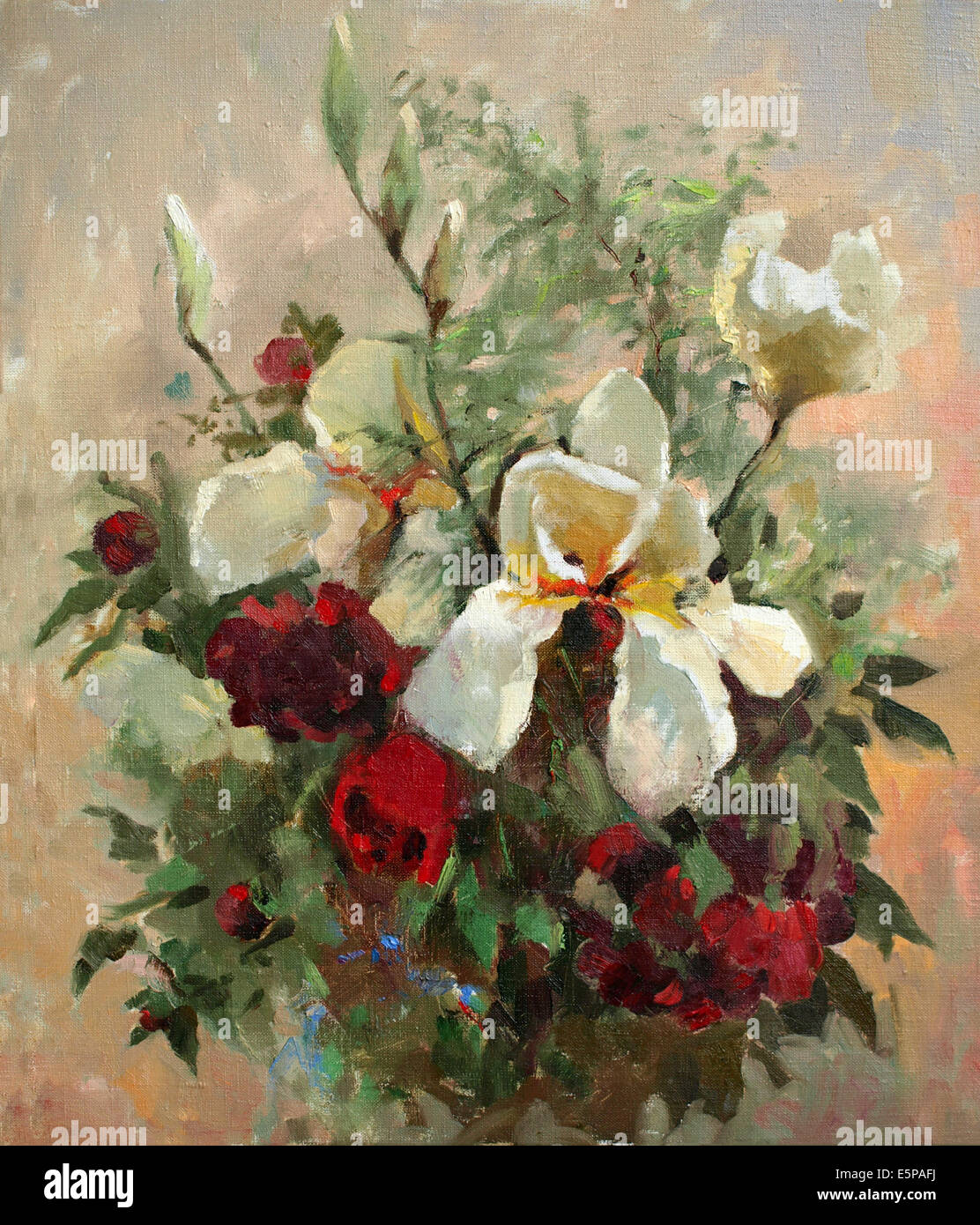 Oil Painting Beautiful Flowers Artwork Stock Photos Oil Painting