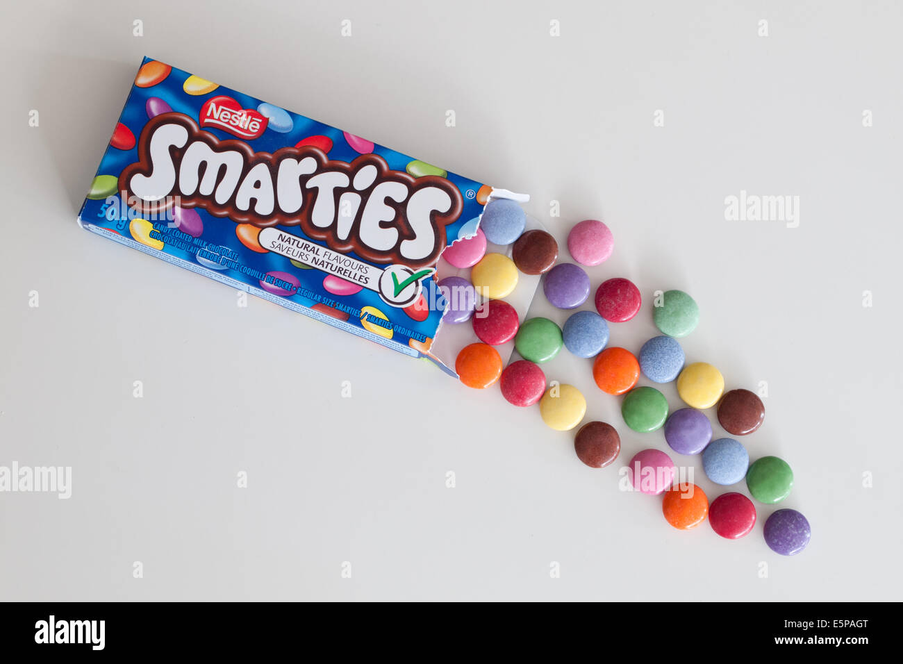 A box of colourful Smarties candy, manufactured by Nestlé