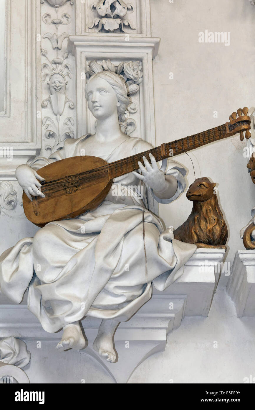 Female statue playing a stringed instrument, baroque stucco figure by Giacomo Serpotta, Oratorio del Rosario di - Stock Image