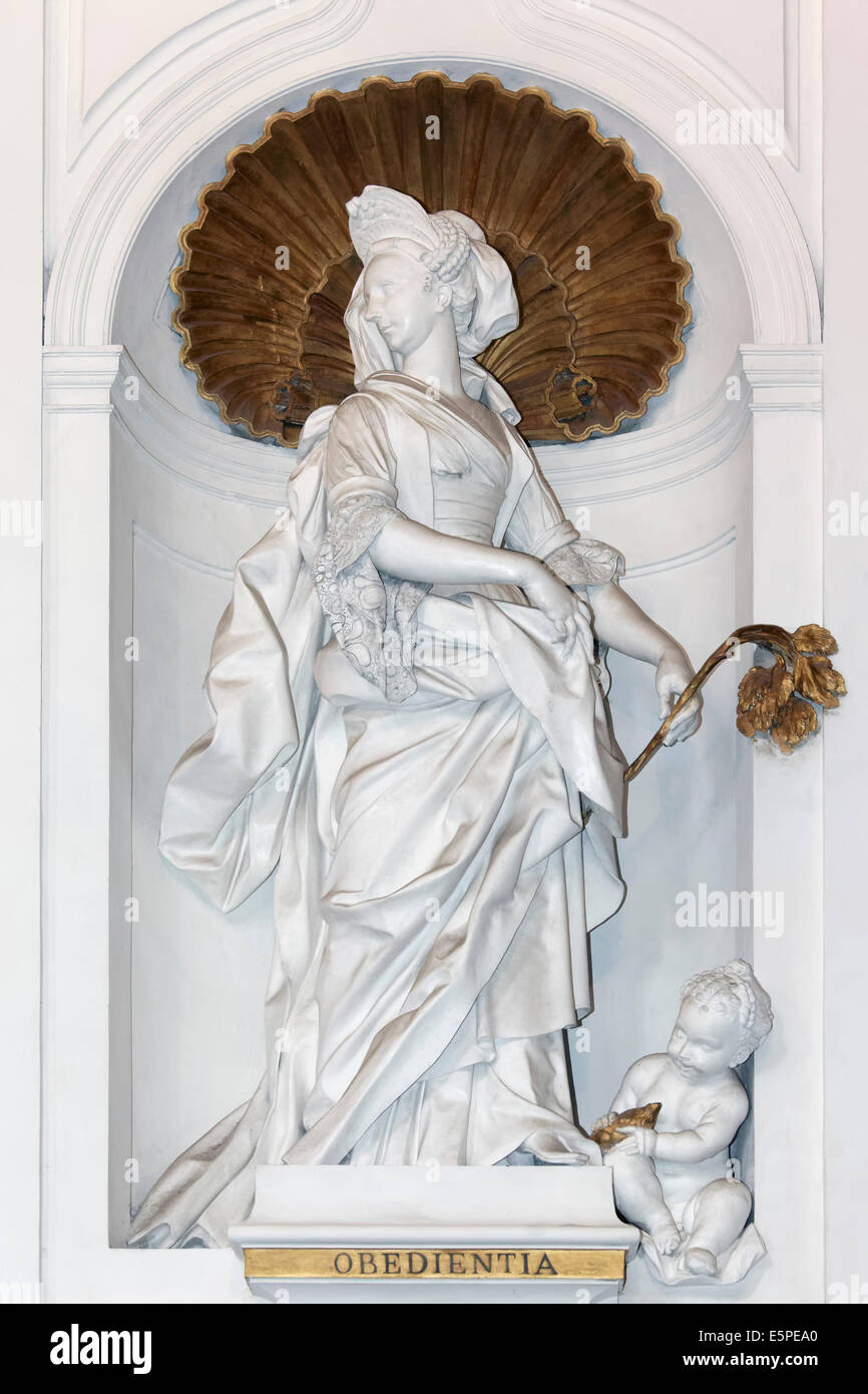 Baroque female statue 'Virtue of Obedience' by Giacomo Serpotta, Oratorio del Rosario di San Domenico, Palermo, - Stock Image