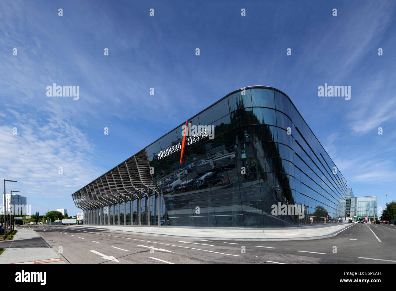 The new Halle 3a exhibition hall, exhibition center, Nuremberg, Middle Franconia, Bavaria, Germany - Stock Image