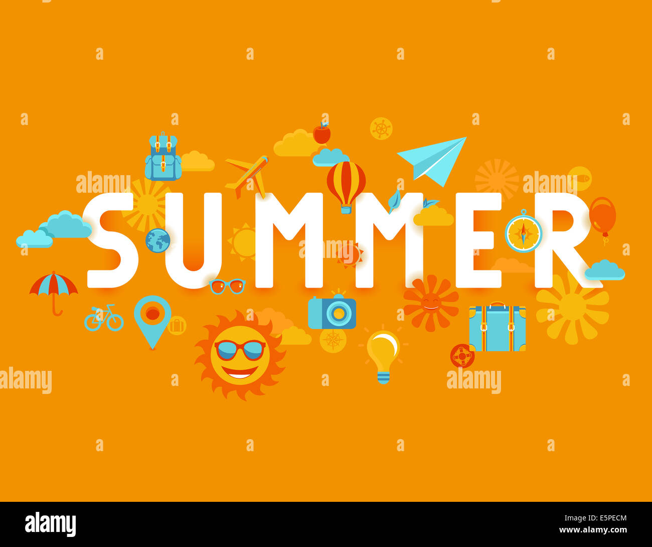 Summer poster in flat style - icons and signs with type - vacation and travel concept - Stock Image