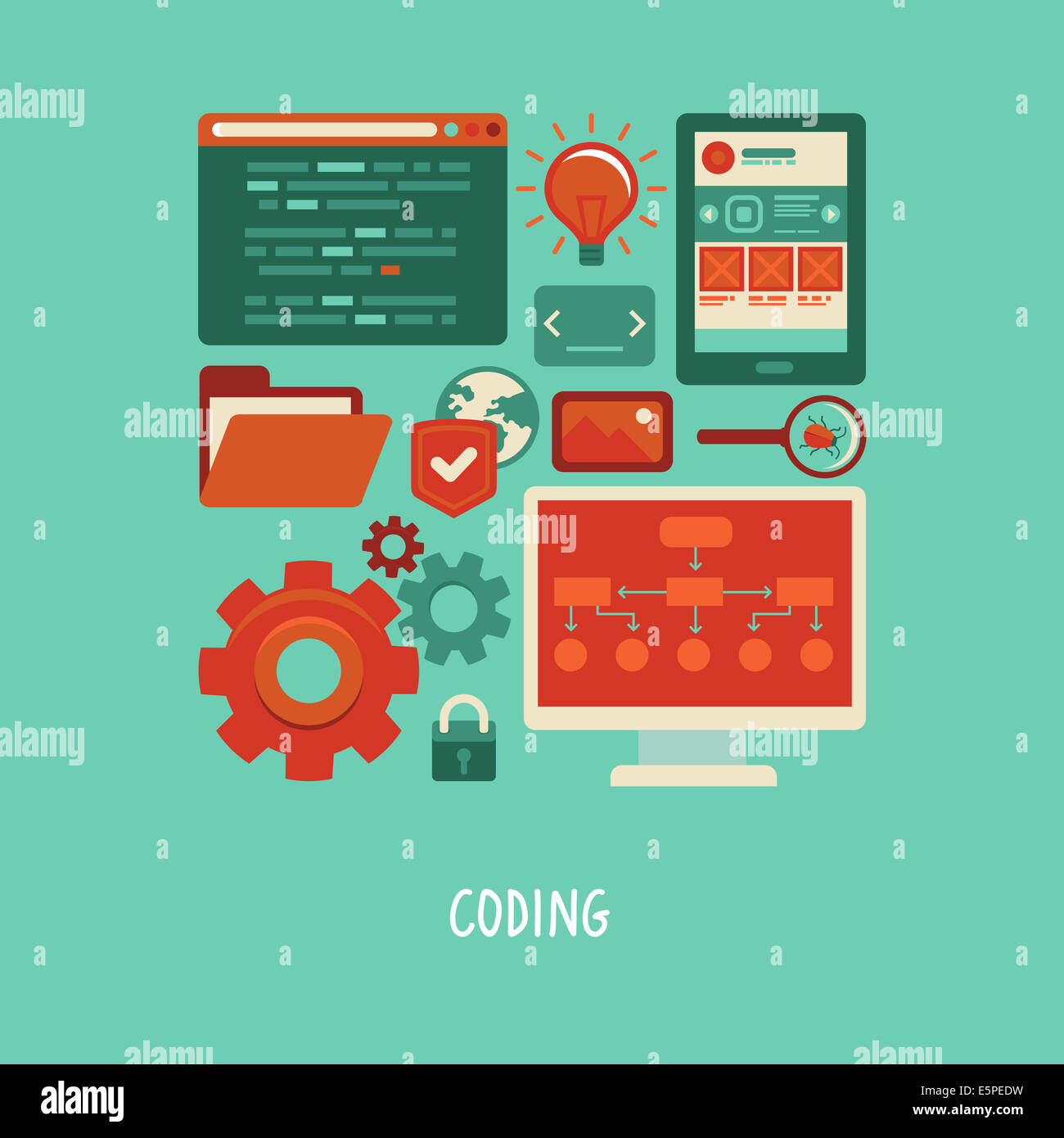 Concept in flat style with trendy icons - website development and coding. Tools and symbols - programming and prototyping - Stock Image