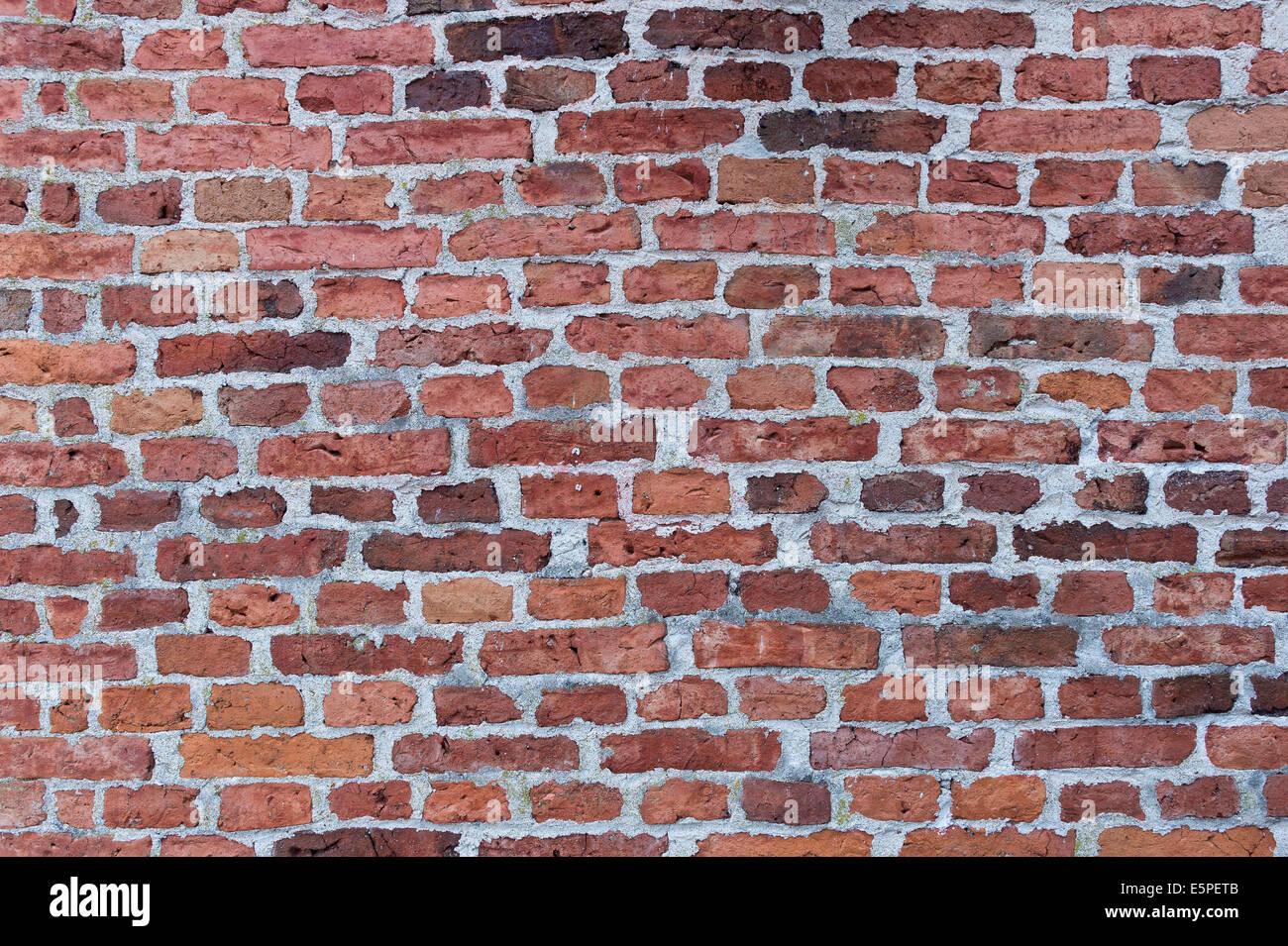 Wall made of red bricks, Karlskrona, Blekinge län, Sweden - Stock Image