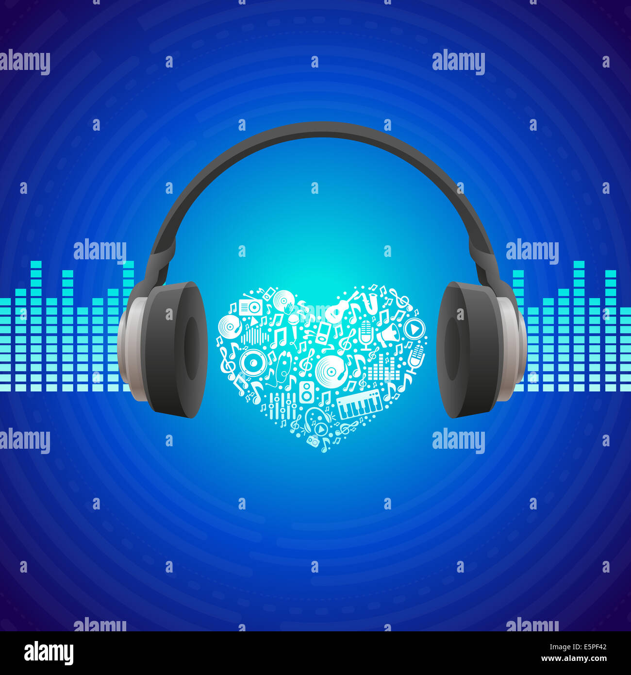 Music concept - abstract background with headphones icon - Stock Image