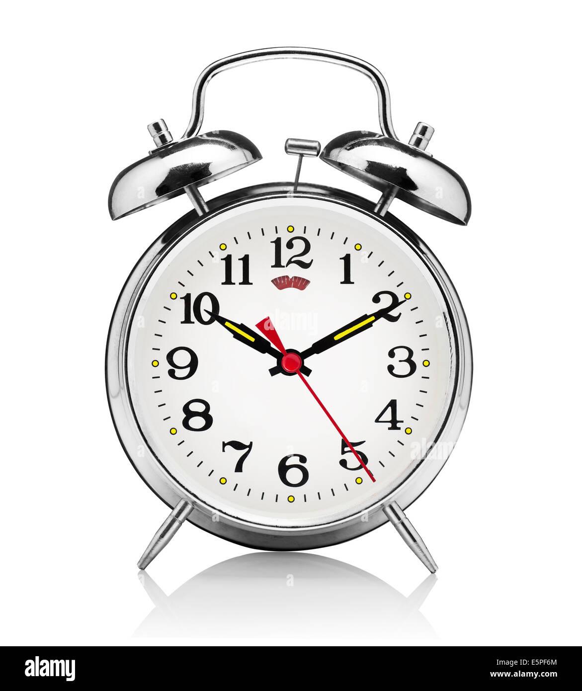 classical alarm clock isolated on white background Stock Photo