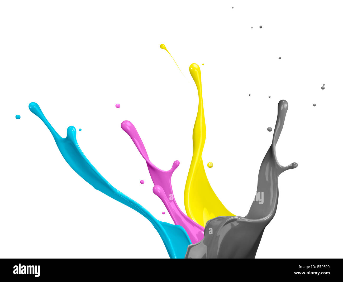 paint splash of cyan, magenta, yellow and black - Stock Image