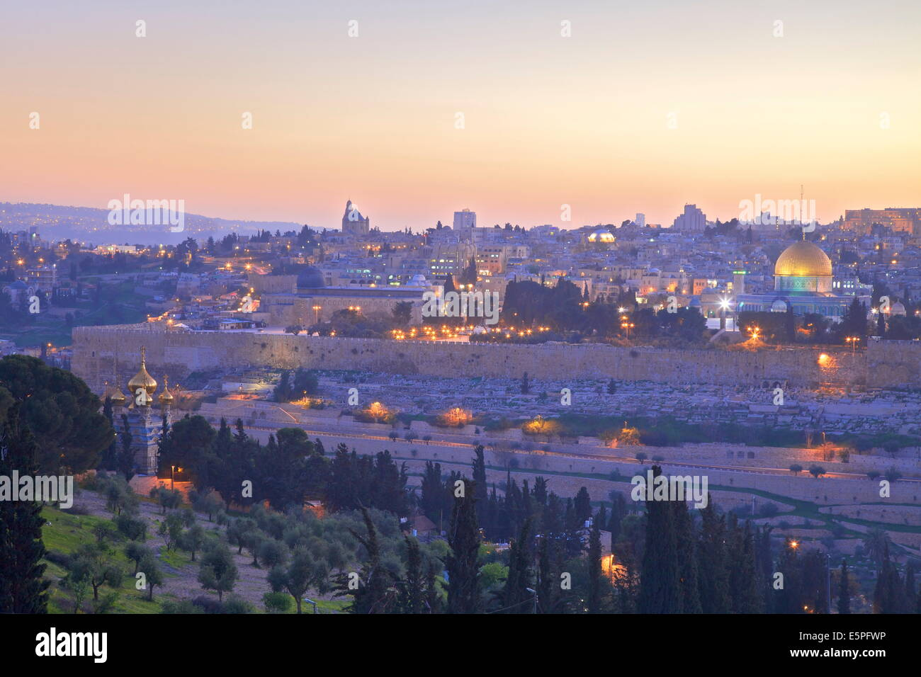 View of Jerusalem from The Mount of Olives, Jerusalem, Israel, Middle East Stock Photo