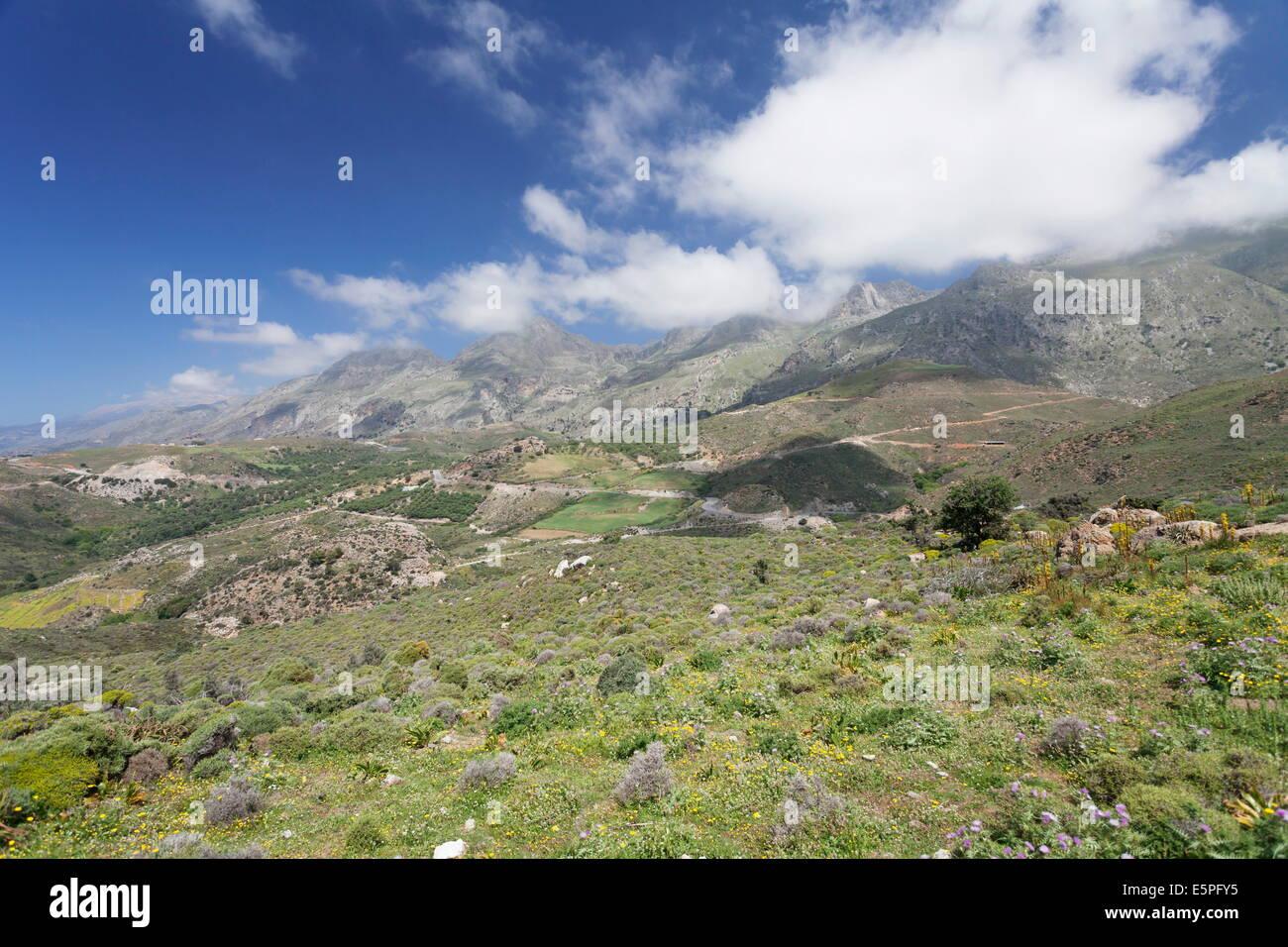 Mountain landscape in the hinterland of Frangokastello and Rodakino, South Crete, Crete, Greek Islands, Greece, - Stock Image
