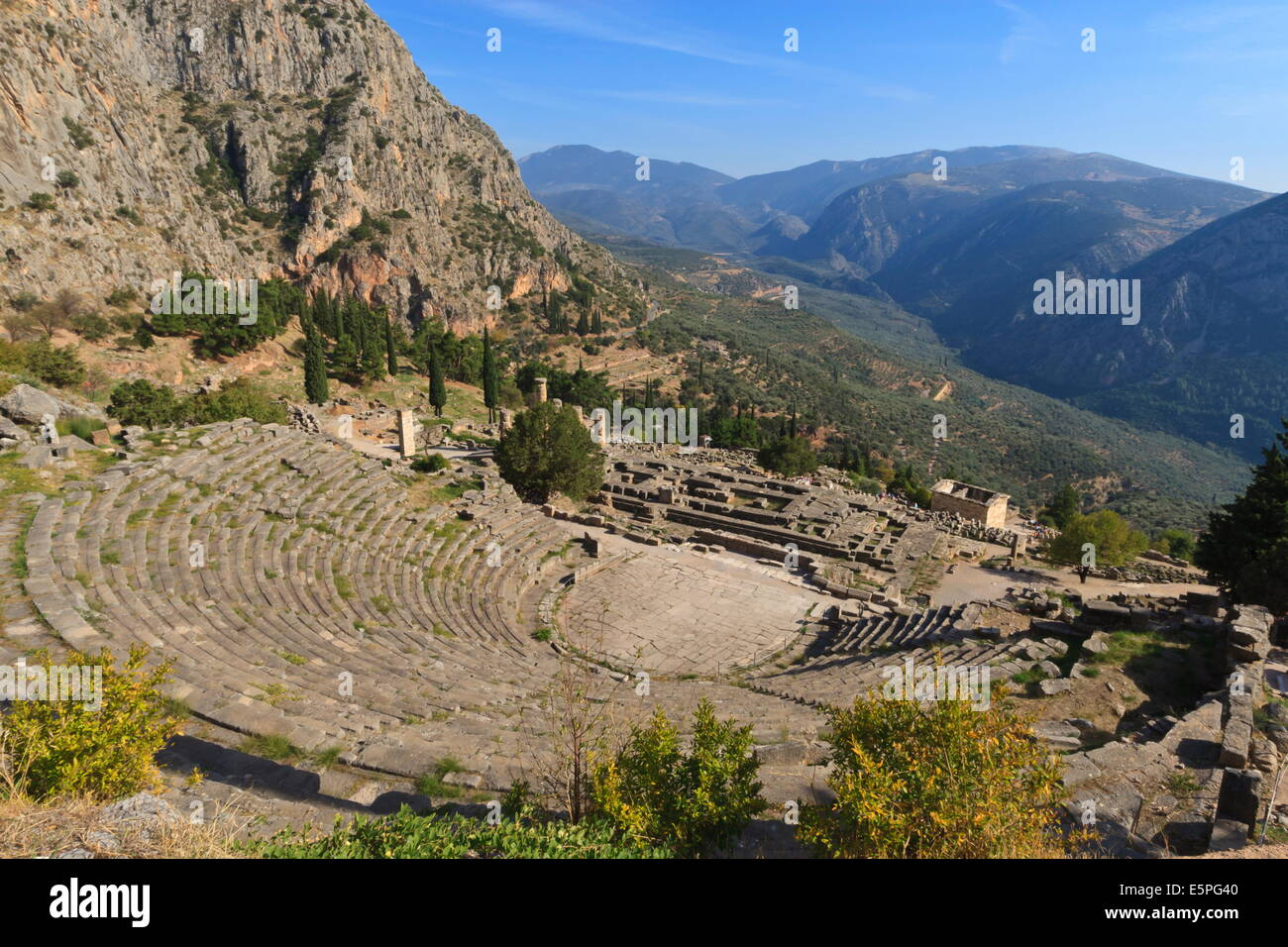 Theatre at Delphi, UNESCO World Heritage Site, Peloponnese, Greece, Europe Stock Photo
