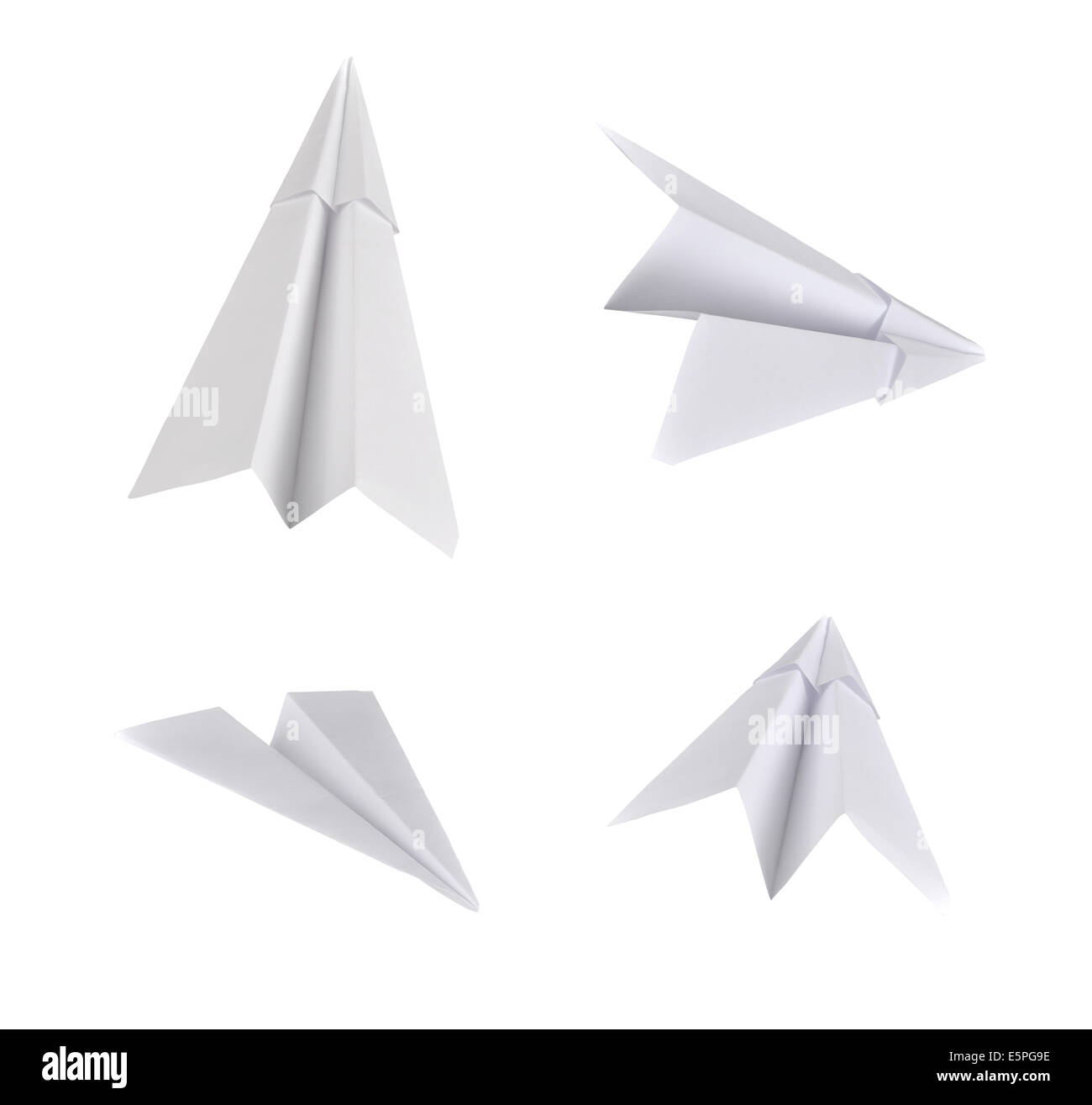Set of real photos on paper planes. Isolated on white background. - Stock Image