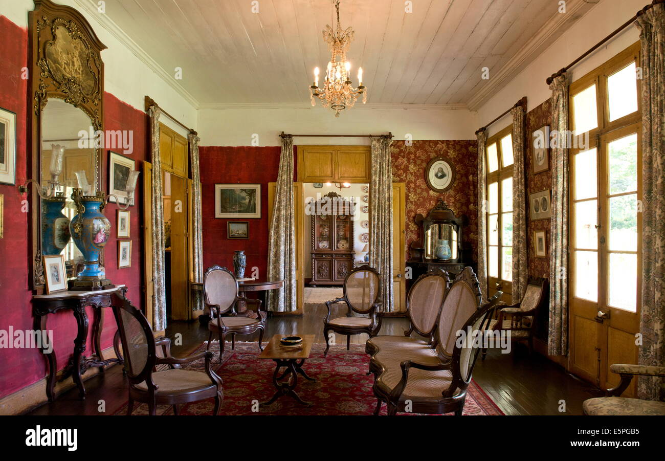 A sitting room inside Eureka House, a colonial style building built in 1830, Moka, Mauritius, The Indian Ocean, - Stock Image