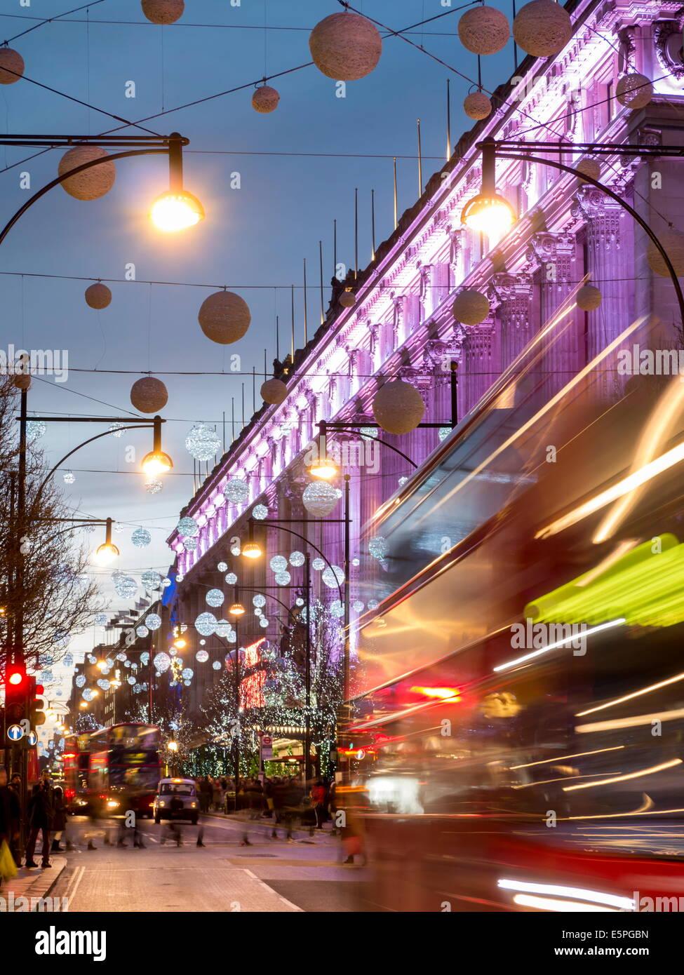 Selfridges on Oxford Street at Christmas, London, England, United Kingdom, Europe - Stock Image