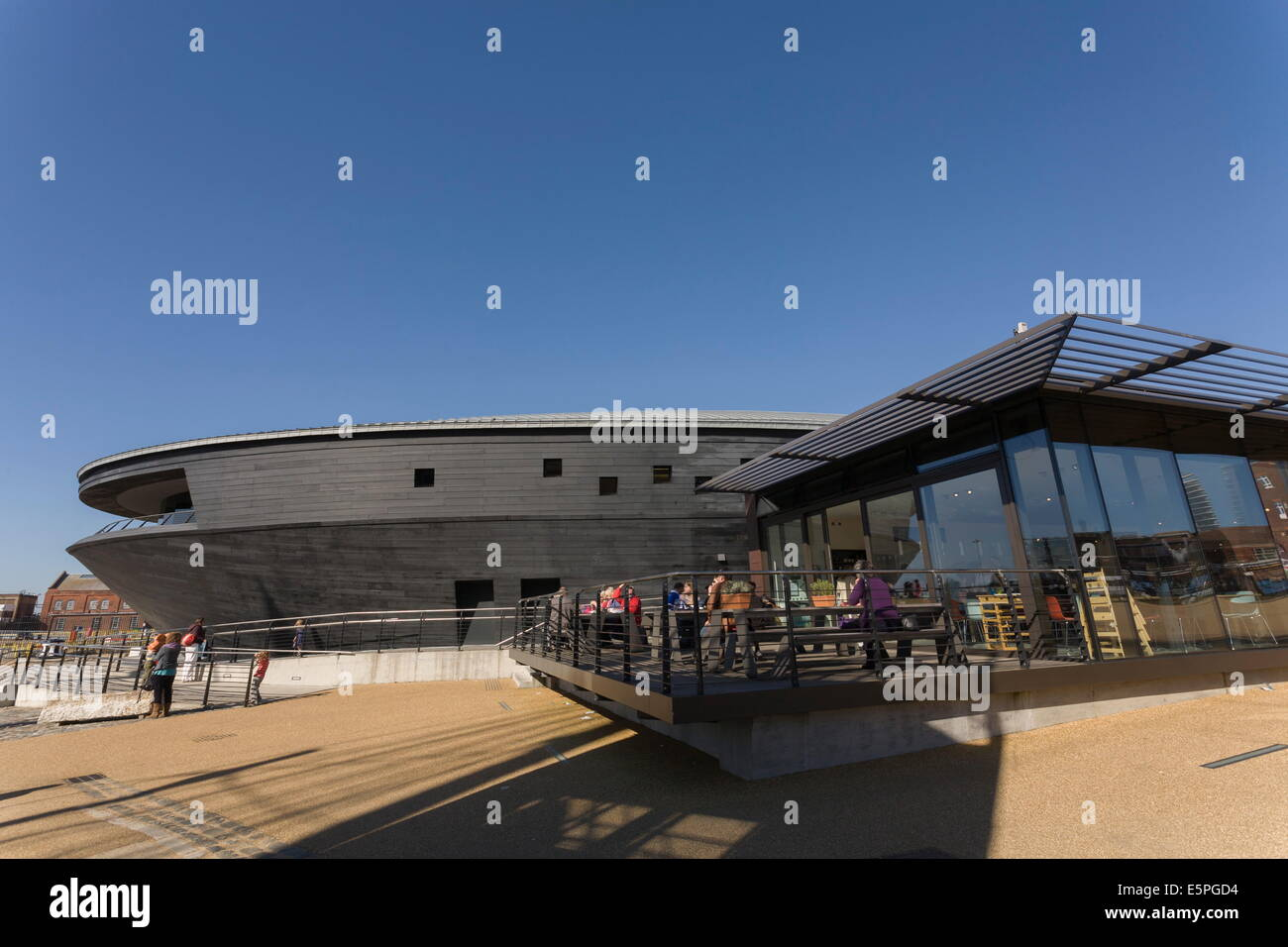 Cafe and the New Mary Rose Museum, HM Naval Base, Portsmouth Historic Dockyard, Portsmouth, Hampshire, England, - Stock Image
