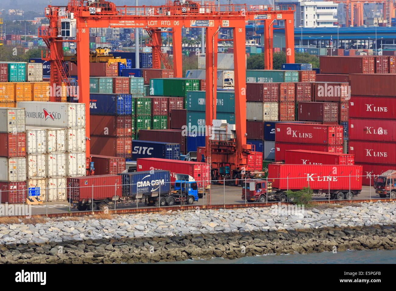 Containers in Laem Chabang Port, Laem Chabang City, Thailand, Southeast Asia, Asia - Stock Image