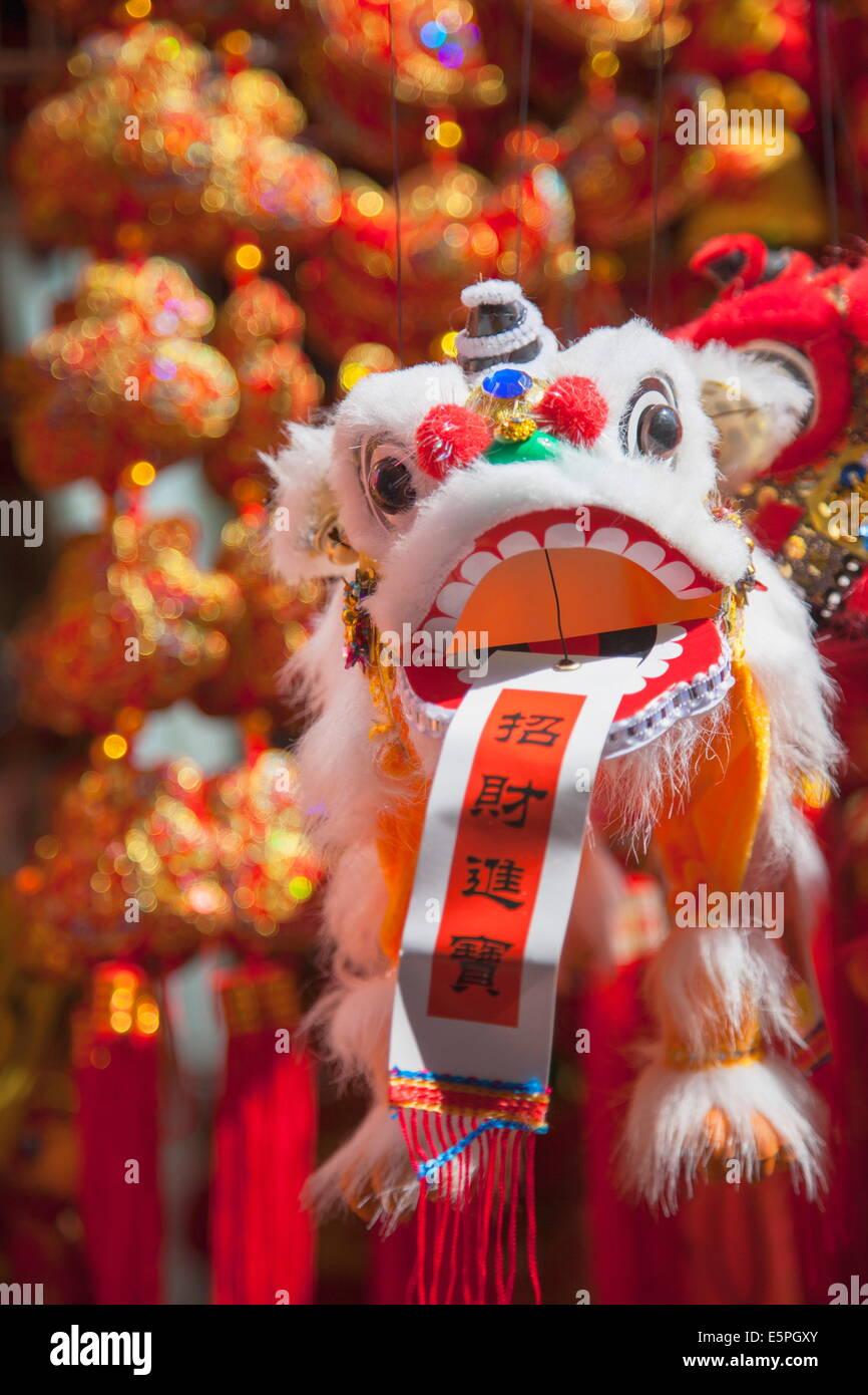 Chinese lion decoration at Fa Yuen Street Market, Mongkok, Kowloon, Hong Kong, China, Asia - Stock Image