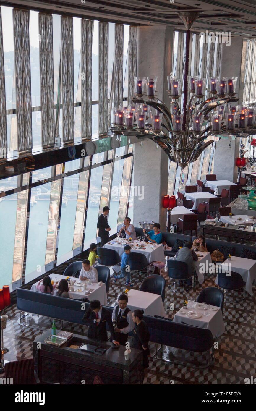Tosca Restaurant in Ritz Carlton inside ICC, Kowloon, Hong Kong, China, Asia - Stock Image