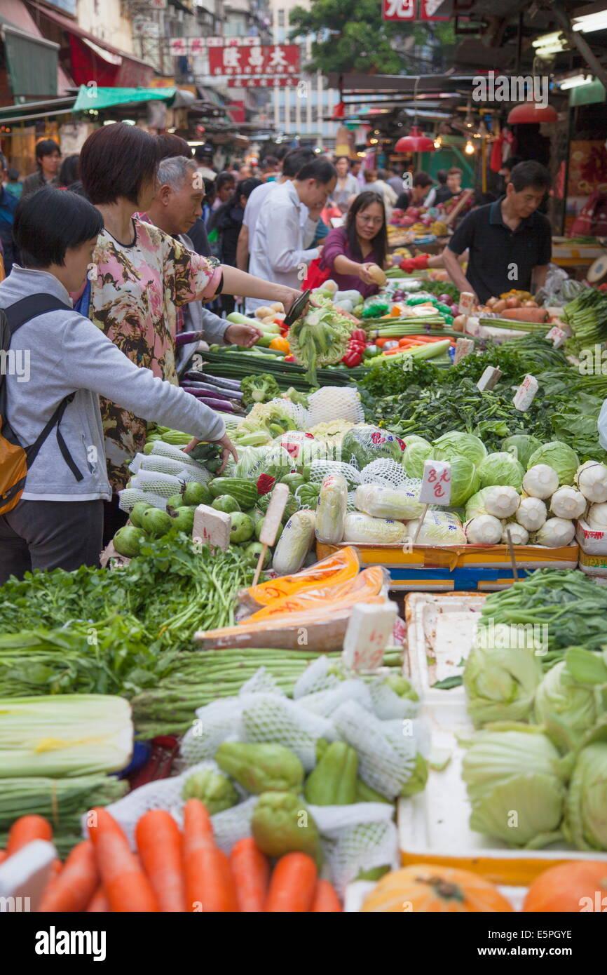Vegetable market, Yau Ma Tei, Kowloon, Hong Kong, China, Asia - Stock Image