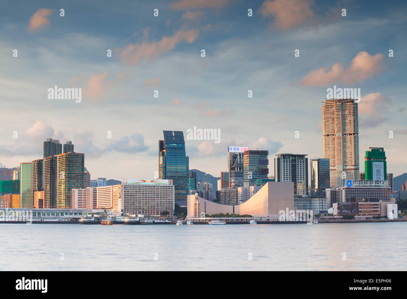 View of Tsim Sha Tsui skyline, Kowloon, Hong Kong, China, Asia - Stock Image