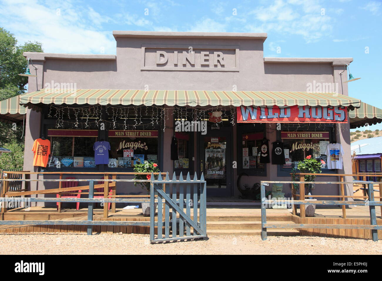 Diner where Wild Hogs movie was filmed, Madrid, former mining town in the Ortiz Mountains, Turquoise Trail, New - Stock Image