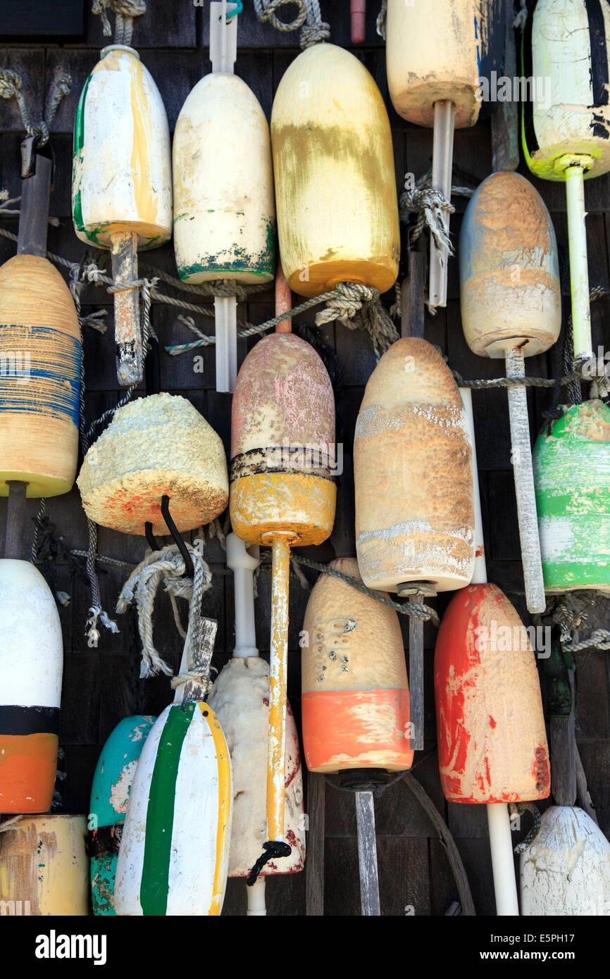 Lobster buoys, Cape Cod National Seashore, Orleans, Cape Cod, Massachusetts, New England, United States of America - Stock Image