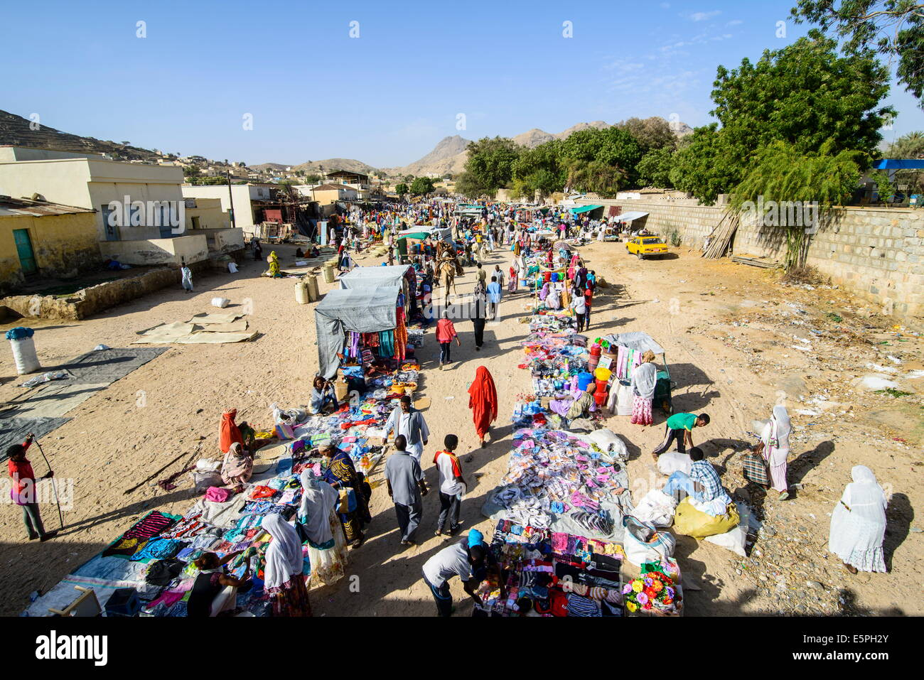 The colourful Monday market of Keren, Eritrea, Africa - Stock Image