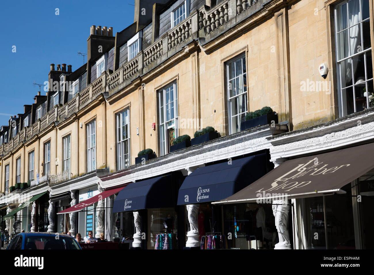 Regency shop fronts along Montpellier Walk, Cheltenham, Gloucestershire, England, United Kingdom, Europe - Stock Image