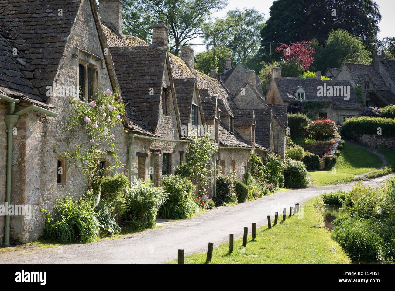 Arlington Row, Bibury, Cotswolds, Gloucestershire, England, United Kingdom, Europe - Stock Image