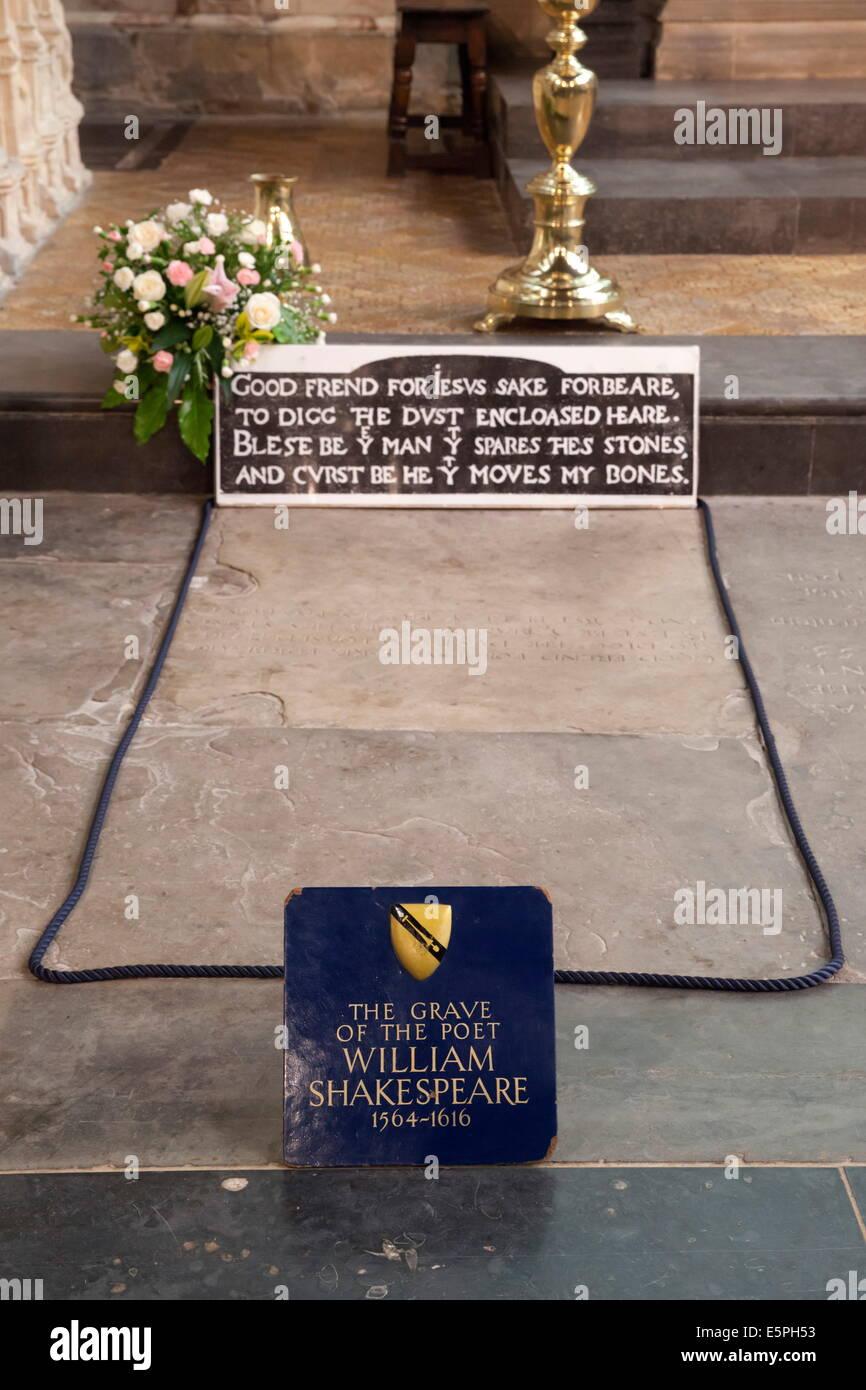 Shakespeare's Grave, Holy Trinity Church, Stratford-upon-Avon, Warwickshire, England, United Kingdom, Europe - Stock Image