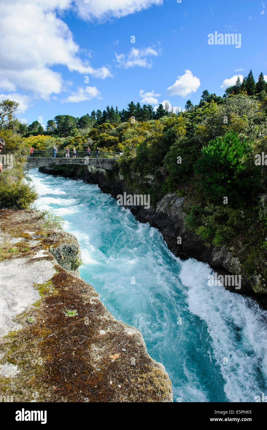 Narrow chasm leading in the Huka falls on the Waikato River, Taupo, North Island, New Zealand, Pacific - Stock Image