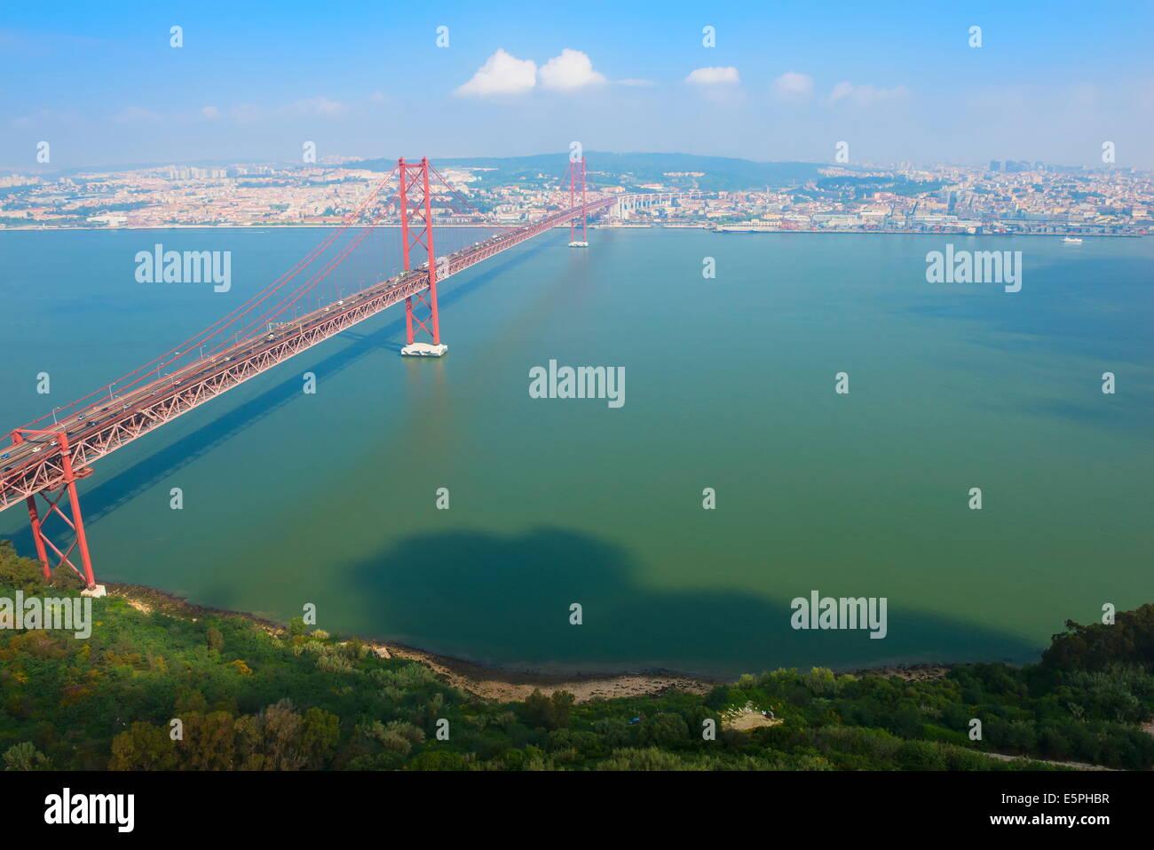 Ponte 25 de Abril (25th of April Bridge) over the Tagus River, Lisbon, Portugal, Europe Stock Photo