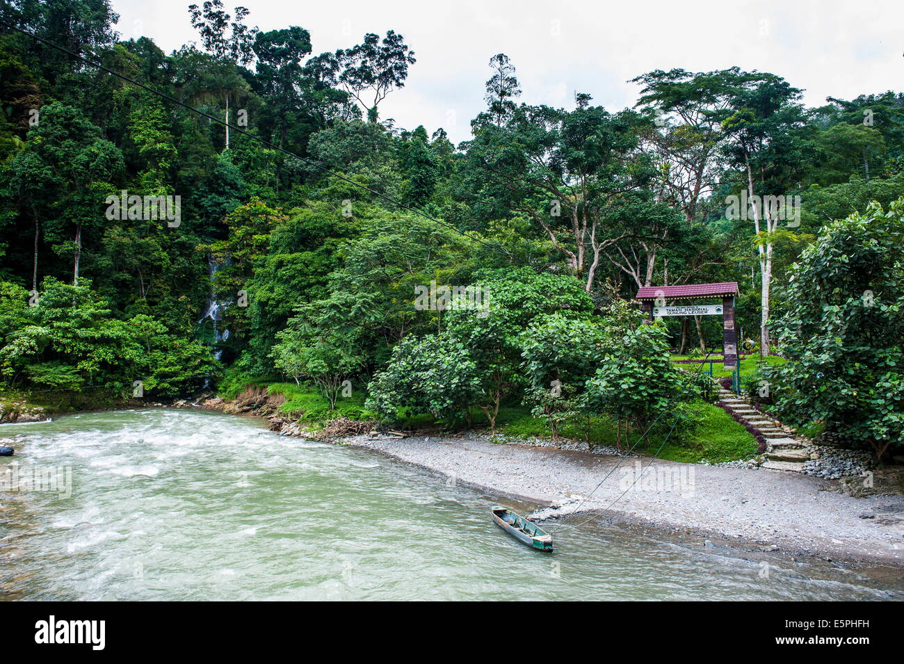 Bohorok River in front of the Bukit Lawang Orang Utan Rehabilitation station, Sumatra, Indonesia, Southeast Asia, Stock Photo