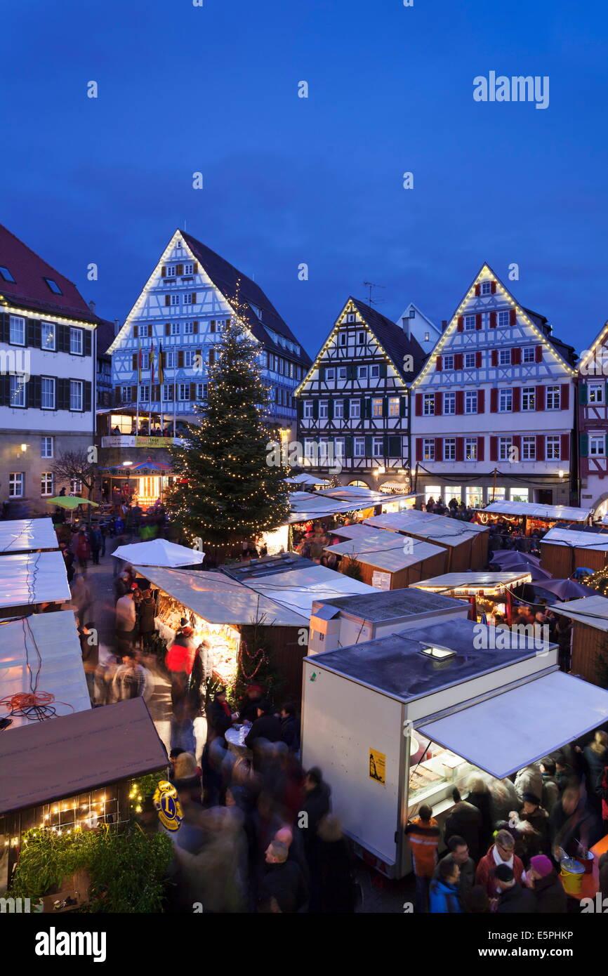 Weihnachtsmarkt in the Marktplatz, Herrenberg, Baden Wurttemberg, Germany, Europe - Stock Image