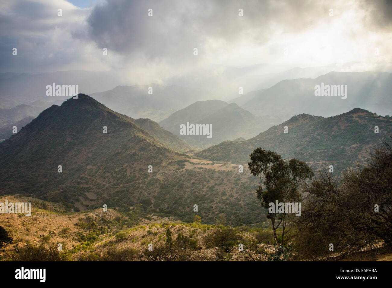Outlook over the mountains along the road from Massawa to Asmara, Eritrea, Africa - Stock Image