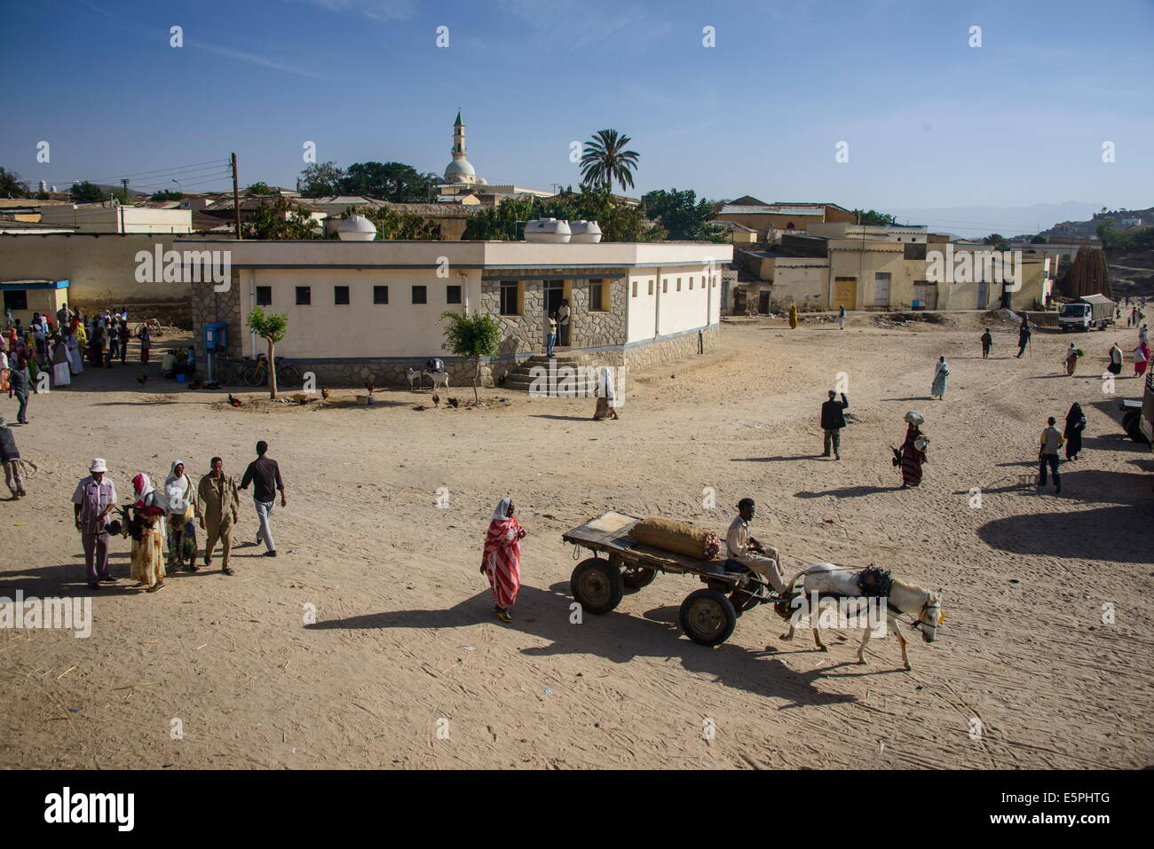 Horse cart at the Monday market of Keren, Eritrea, Africa - Stock Image